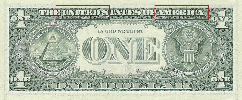 Dollar Bill United America 13